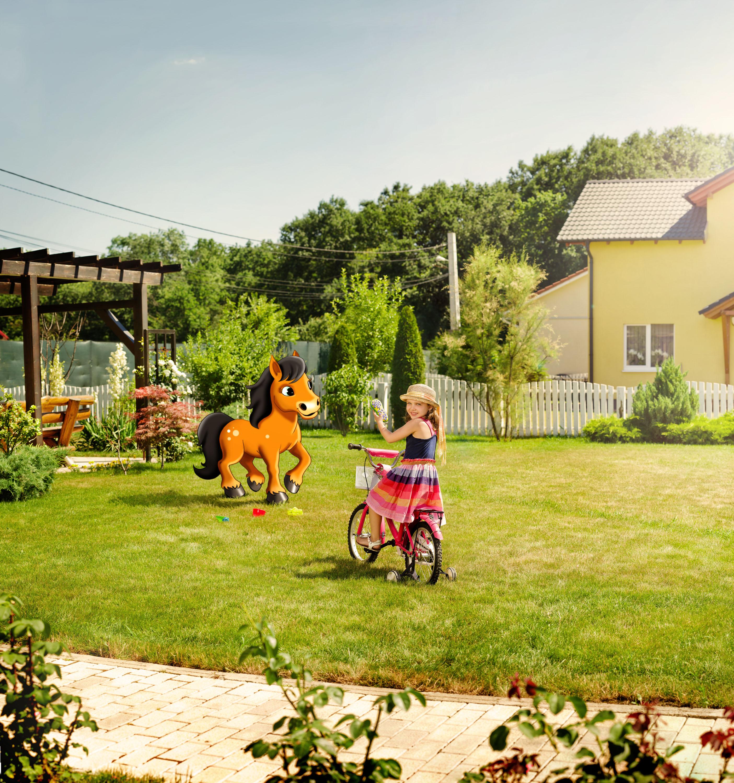 curte cu bicicleta predata cu ponei mare